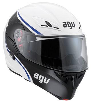 Resim AGV Compact Course Çeneden Açılır Motosiklet Kaskı Beyaz Mavi