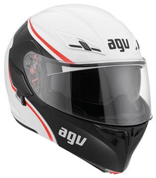 Resim AGV Compact Course Çeneden Açılır Motosiklet Kaskı Beyaz Kırmızı