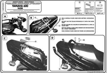 Resim Givi 340F Yamaha FZS 600 Fazer (98-03) Motosiklet Arka Çanta Taşıyıcı