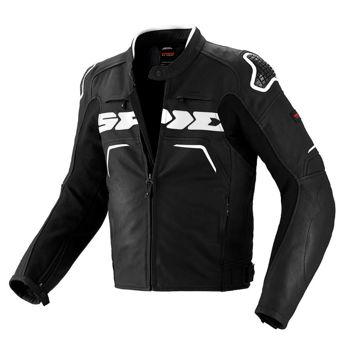 Resim Spidi Evo Rider Deri Motosiklet Ceketi Siyah Beyaz