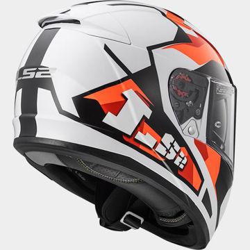 Resim LS2 FF390 Sergent Kapalı Motosiklet Kaskı Beyaz Kırmızı Turuncu