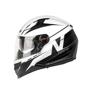 Resim Nitro N2200 Güneş Camlı Kapalı Motosiklet Kaskı 14 Beyaz Siyah