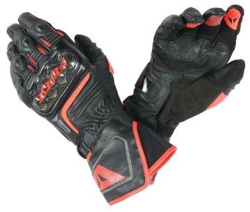 Resim Dainese Carbon D1 Uzun Motosiklet Eldiveni Siyah Neon Kırmızı