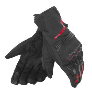 Resim Dainese Tempest Unisex D-Dry Motosiklet Eldiveni Kısa Siyah Kırmızı