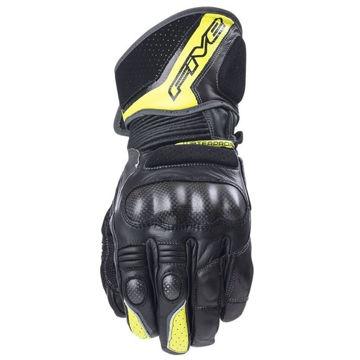 Resim Five Gloves GT1 WP Mevsimlik Deri Motosiklet Eldiveni Siyah Neon Sarı
