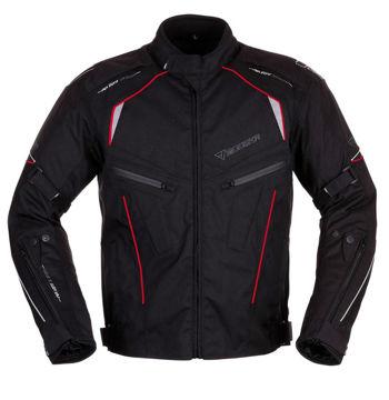 Resim Modeka Kiano Motosiklet Ceket Siyah Kırmızı