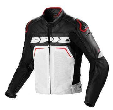 Resim Spidi Evo Rider Deri Motosiklet Ceketi Siyah Kırmızı
