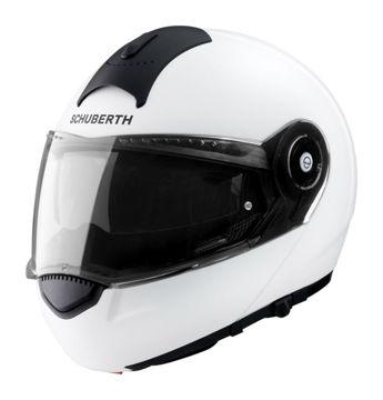 Resim Schuberth C3 Basic Çeneden Açılır Motosiklet Kaskı Parlak Beyaz
