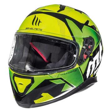 Resim MT Kask Thunder 3 Torn Kapalı Motosiklet Kaskı Neon Sarı Yeşil