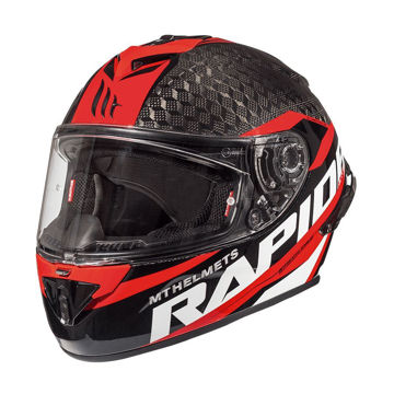 Resim MT Kask Rapide Pro Karbon Motosiklet Kaskı Kırmızı Siyah