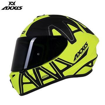Resim Axxis Kask Draken Dekers Motosiklet Kaskı Mat Siyah Neon Yeşil