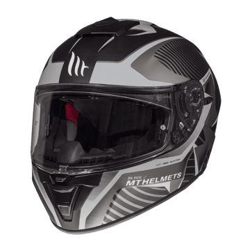 Resim MT Kask Blade 2 SV Blaster B6 Kapalı Motosiklet Kaskı Mat Siyah Gri