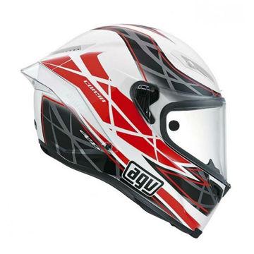 Resim Agv Corsa Multi W5 Hundred Kapalı Motosiklet Kaskı Beyaz Siyah Kırmızı