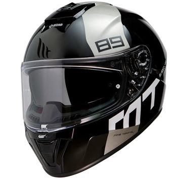 Resim MT Kask Blade 2 SV 89 B2 Kapalı Motosiklet Kaskı Parlak Siyah Beyaz
