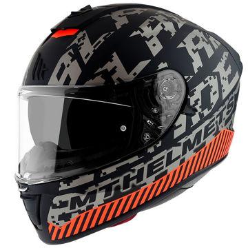 Resim MT Kask Blade 2 SV Check B2 Kapalı Motosiklet Kaskı Mat Gri Turuncu