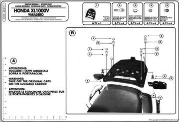 Resim KAPPA HONDA XL 1000 VARADERO (99-06) ARKA ÇANTA TAŞIYICISI K212
