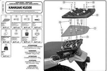 Resim KAPPA KAWASAKI KLE 500 (05-08) ARKA ÇANTA TAŞIYICISI K58