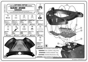 Resim KAPPA SUZUKI BURGMAN 400 K7-K8-K9 (06-13) ARKA ÇANTA TAŞIYICISI K531E