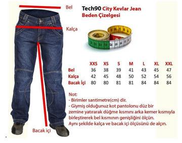 Resim Tech90 City Kevlar Kot Motosiklet Pantolonu