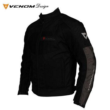 Resim Venom Dynamic Fileli Mevsimlik Motosiklet Ceketi Siyah Gri