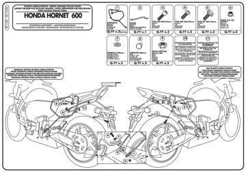 Resim Givi Te1102 Honda Hornet 600 (11-13) - Cbr 600 f (11-13) Motosiklet Yan Kumas Çanta Tasıyıcı