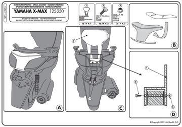 Resim Givi Tb55 Yamaha X-max 125-250 (10-13) Motosiklet Sıssybar