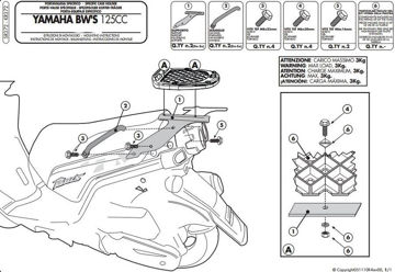 Resim Givi Sr372 Yamaha Bws125 (10-15) Motosiklet Arka Çanta Taşıyıcı