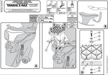 Resim Givi Sr370m Yamaha X-max 125-250 (10-13) Motosiklet Arka Çanta Taşıyıcı