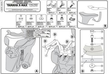 Resim Givi Sr370 Yamaha X-max 125-250 (10-13) Motosiklet Arka Çanta Taşıyıcı