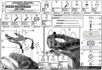 Resim Givi Sr311 Ducati Multistrada 620-1100 (06-09) Motosiklet Arka Çanta Taşıyıcı