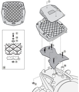 Resim Givi Sr3101 Suzuki Dl 650 V-strom (11-15) Motosiklet Arka Çanta Taşıyıcı