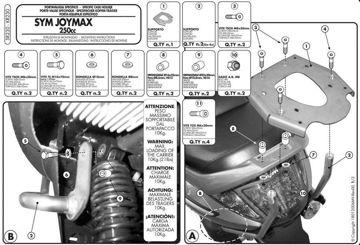 Resim Givi Sr232 Sym Joymax 250 (05-08) - Joymax Evo (09-11) - Gts (11-12) Motosiklet Arka Çanta Taşıyıcı