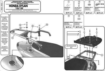 Resim Givi Sr22 Honda Dylan 125-150 (02-07) Motosiklet Arka Çanta Taşıyıcı
