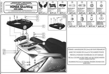 Resim Givi Sr19m Honda Silverwing - Abs 400-600 (01-09) - Sw-t 400-600 (09-15) Motosiklet Arka Çanta Taşıyıcı
