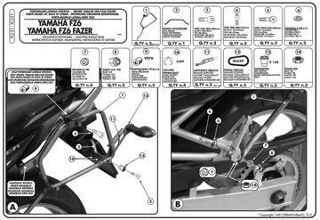 Resim Givi Pl351 Yamaha Fz6 - Fz6 600 Fazer (04-06) Motosiklet Yan Çanta Taşıyıcı