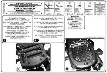 Resim Givi E528M Suzuki DL 650-1000 V-STROM (02-11) - Kawasaki KLV 1000 (04-10) Motosiklet Arka Çanta Taşıyıcı