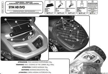 Resim Givi E291 SYM HD EVO 125-200 (07-14) Motosiklet Arka Çanta Taşıyıcı