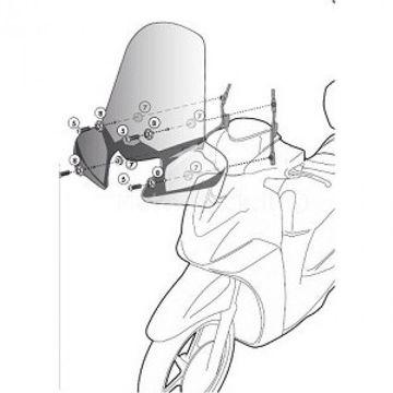 Resim Givi A298A Sym HD EVO 125-200 (07-15) Motosiklet Rüzgar Siperliği Bağlantısı