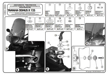 Resim Givi A283A Yamaha Cıgnus X125 Motosiklet Rüzgar Siperliği Bağlantısı