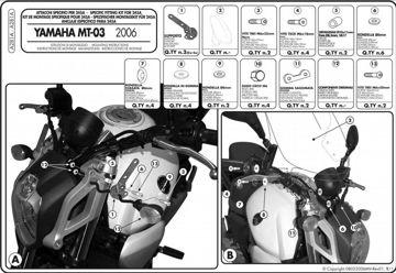 Resim Givi A281A Yamaha MT-03 600 (06-14) Motosiklet Rüzgar Siperliği Bağlantısı