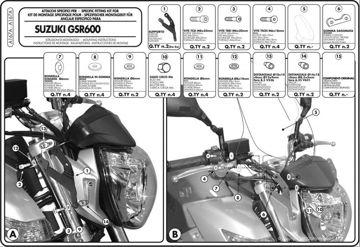 Resim Givi A167A Suzukı GSR 600 (06-07) Motosiklet Rüzgar Siperliği Bağlantısı