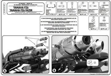 Resim Givi 351KIT Yamaha FZ6 - FZ6 600 Fazer - FZ6 S2 - FZ6 600 Fazer S2 (04-11) Motosiklet Yan Çanta Taşıyıcı Bağlantı Kiti