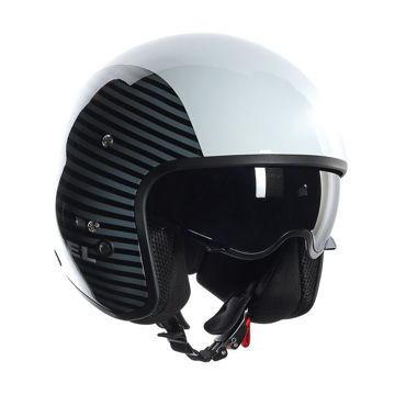 Resim AGV Hi-Jack Diesel Multi Motosiklet Kaskı Çizgili Beyaz