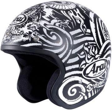 Resim Arai Freeway-2 Art Yarım Motosiklet Kaskı Siyah Beyaz