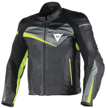 Resim Dainese Veloster Deri Motosiklet Ceketi Siyah Yeşil