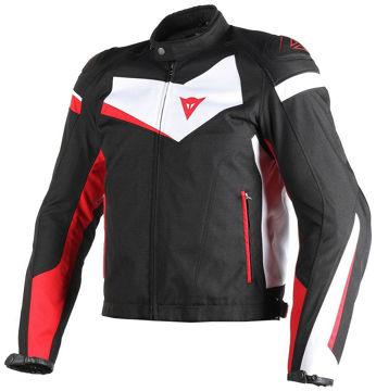 Resim Dainese Veloster Tex Motosiklet Ceketi Siyah Beyaz Kırmızı