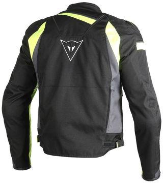Resim Dainese Veloster Tex Motosiklet Ceketi Siyah Gri Neon Sarı