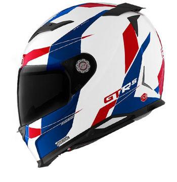 Resim CMS GTRS 3 Speedster Kapalı Motosiklet Kaskı Beyaz Mavi