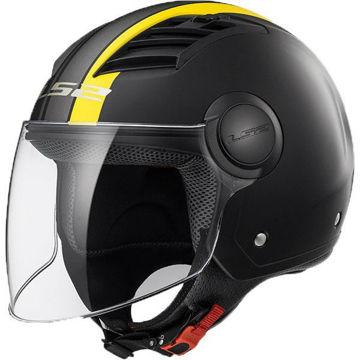 Resim LS2 OF562 Airflow Metropolis Yarım Motosiklet Kaskı Mat Siyah Sarı