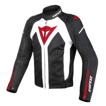 Resim Dainese Hyper Flux D-Dry Motosiklet Ceketi Beyaz Kırmızı